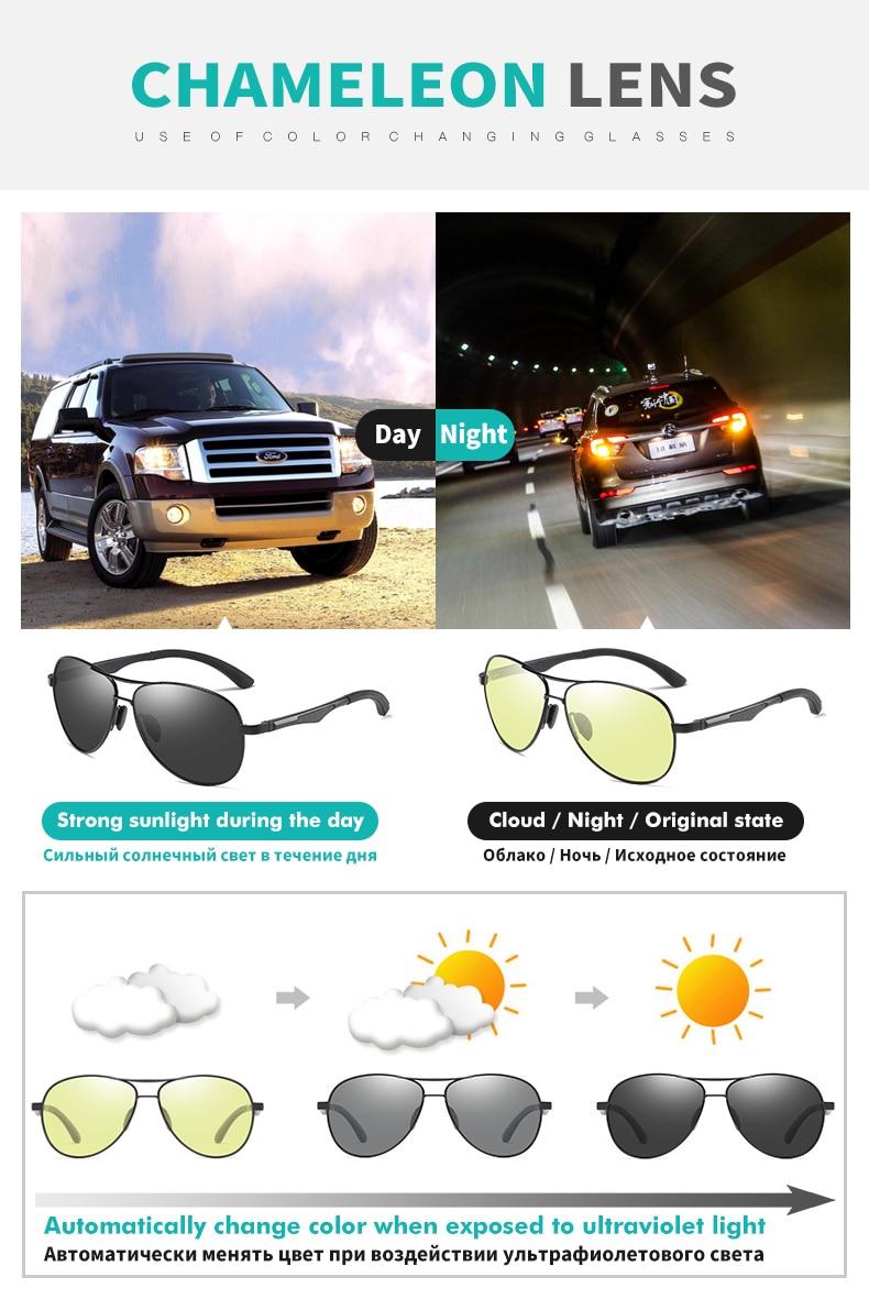 H2bfb582eb78843fc8961d160bf2f280bJ 2020 Aviation Driving Photo chromic Sunglasses Men Polarized Eyewear Glasses Women Day Night Vision