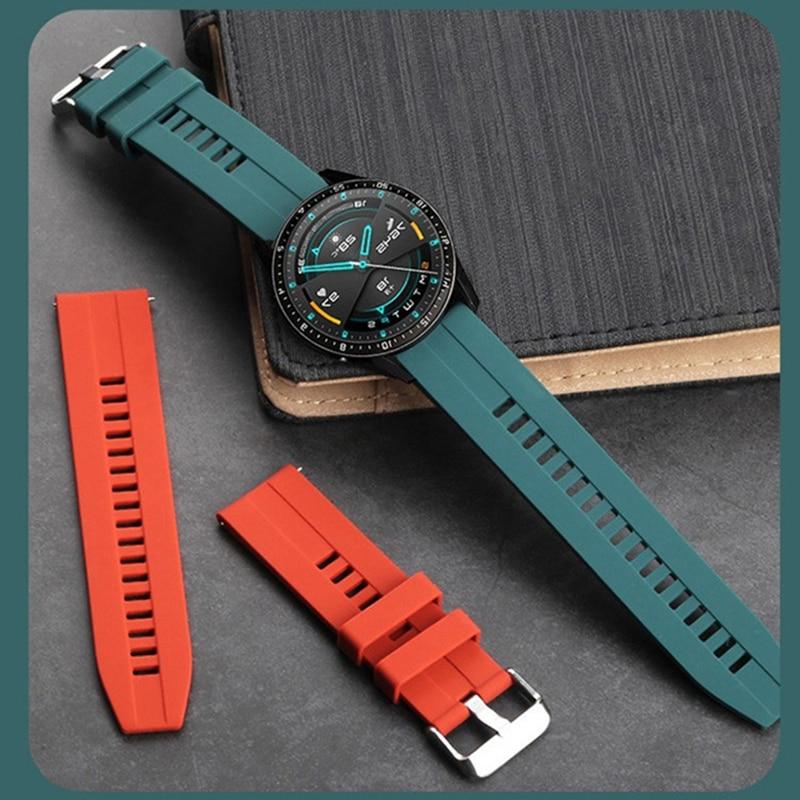 Ремешок силиконовый для часов Huawei Watch GT 2 46 мм, мягкий спортивный браслет для Samsung Galaxy Watch 46 мм Gear S3, 22 мм