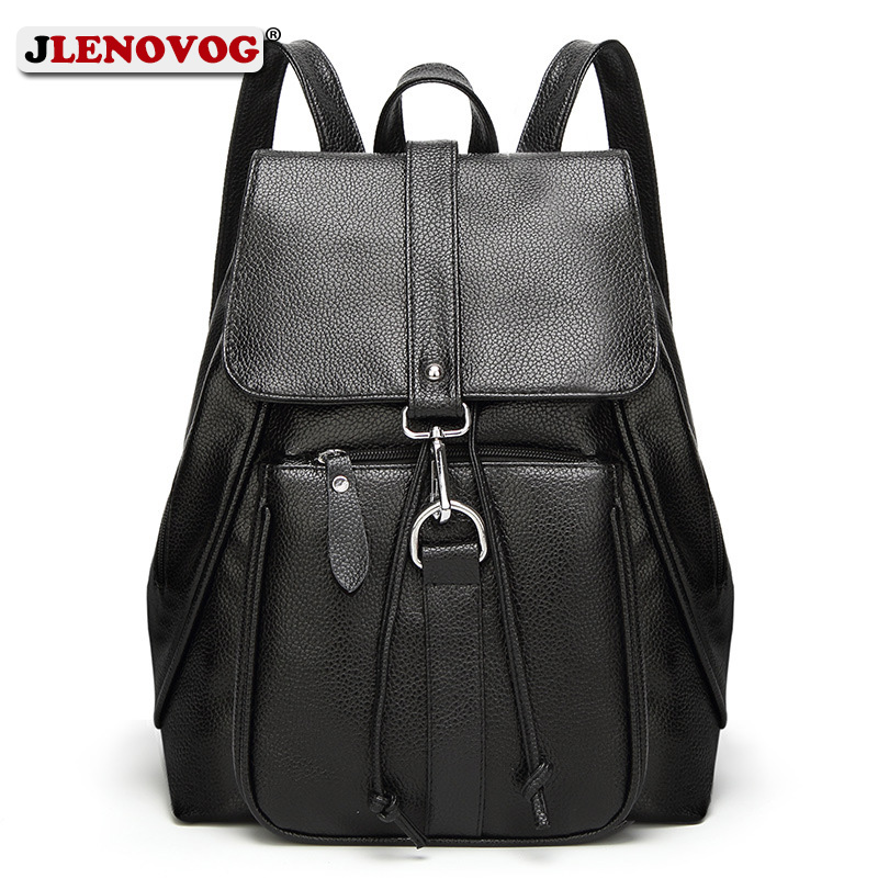 Women Fashion Natural Leather Backpacks High Quality Black School Backpack Bags for Teenage Girls Female Large Capacity Mochilas image