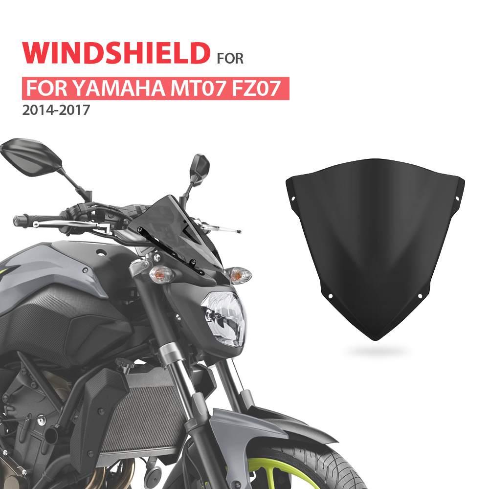 KEMiMOTO Windshield Windscreen For YAMAHA MT 07 MT07 MT-07 FZ-07  FZ07 2014 2015 2016 2017 Motorcycle Accessories Parebrise