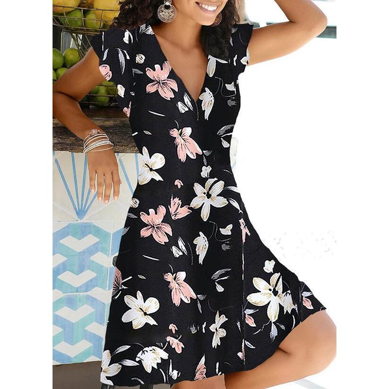 New Summer V Neck Floral Print Party Dress Women Vintage Sleeveless Tank Mini Dress Spring Loose Plus Size A-Line Dress 2021 12