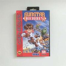 Gunstar heroes eua capa com caixa de varejo 16 bit cartão de jogo md para sega megadrive genesis console de jogos de vídeo