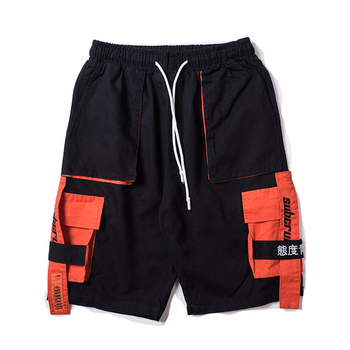 Side Ribbon Multi Pockets Cargo Shorts Mens Casual Summer Hip Hop Baggy Patchwork Streetwear Male Joggers Short Trousers