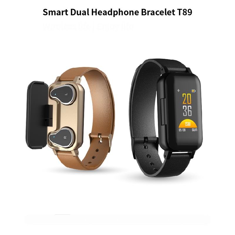 T89 montre intelligente avec Bluetooth écouteur Fitness Bracelet tension artérielle moniteur de fréquence cardiaque Bracelet intelligent Sport montre hommes femmes