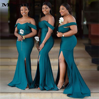 Mbcullyd Dark Green Mermaid Bridesmaid Dresses Long 2020 Sexy Side Slit Off Shoulder African Wedding Guest Dress Party Under 100
