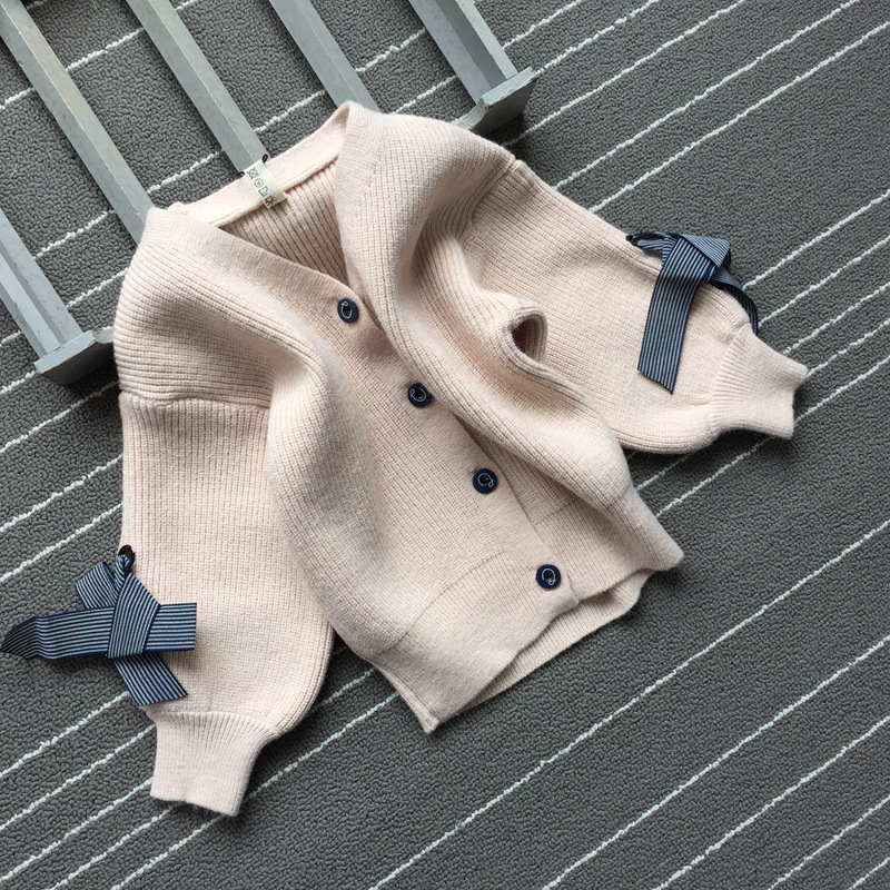 2019 Spring New Style Fashion GIRL'S Sweater Children Long-sleeve Knitwear Solid Color Versatile Cardigan Coat H035