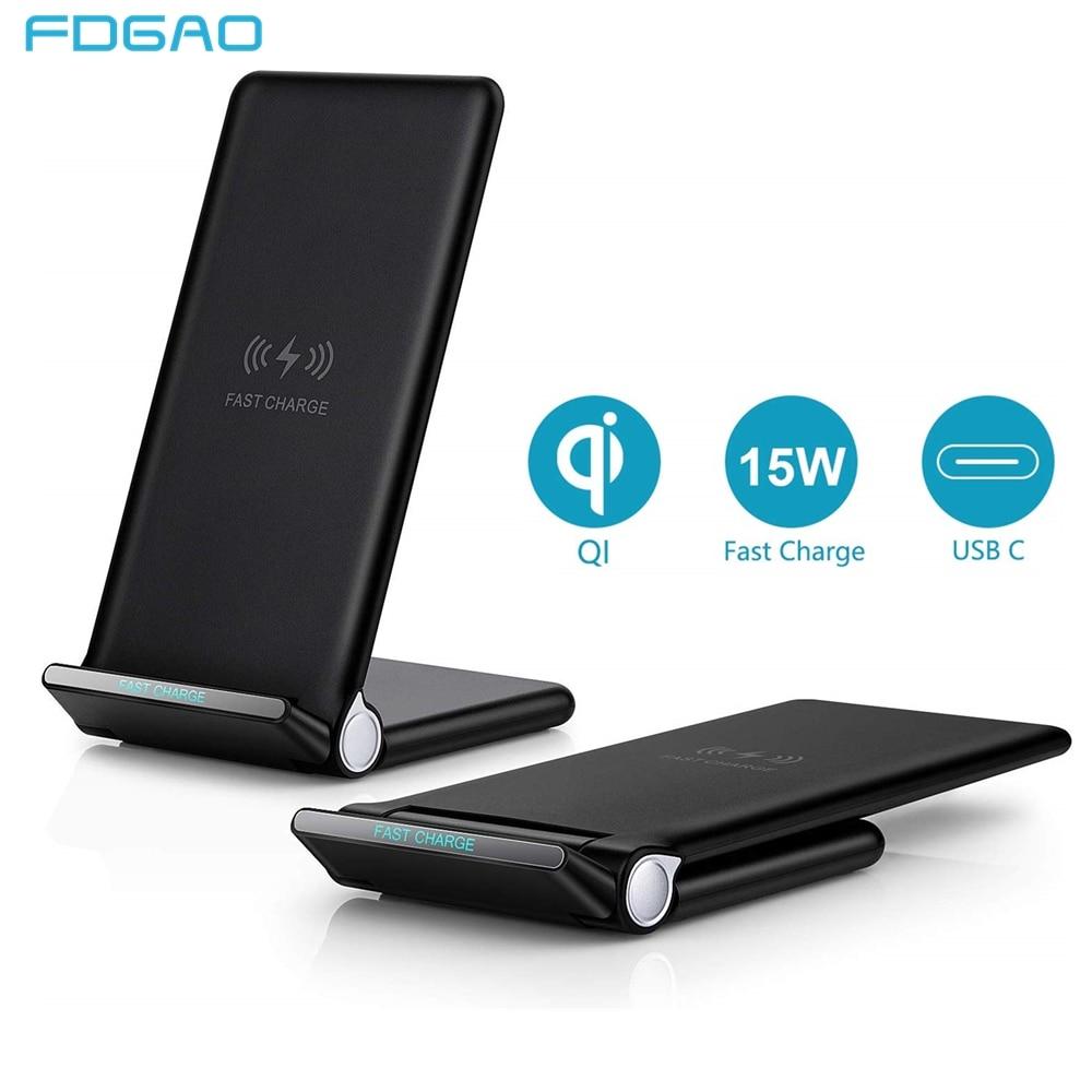 FDGAO chargeur rapide sans fil pliable support de charge Pad câble de USB type C 15W pour iPhone 11 Pro XS XR X 8 Samsung S10 S9 Airpods