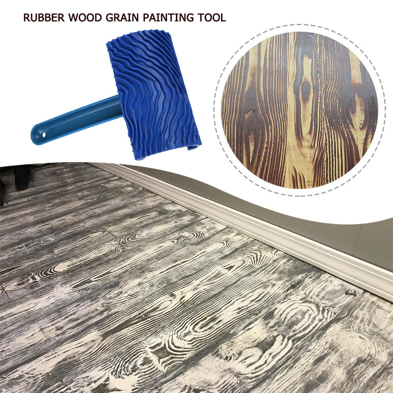 Blue Wood Grain Tool With Rubber Handle Graining Empaistic Stamp Pattern For Wall Painting DIY Decoration Paint Roller