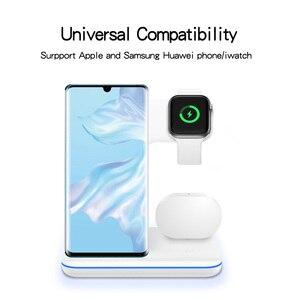 Image 3 - Bezprzewodowa ładowarka do iPhone 11 11 PRO MAX Samsung S10 szybka bezprzewodowa podkładka ładująca 3 w 1 do Huawei Xiaomi 9 Airpods iWatch 4 3 2
