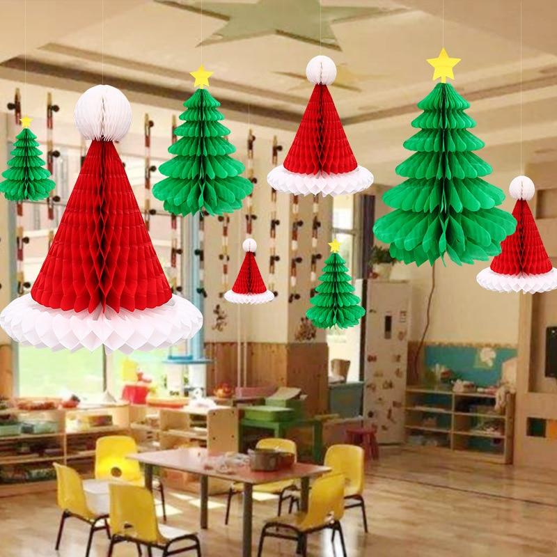3 шт сотовая бумага Рождественская шляпа Рождественская елка кулон висячие орнамент Рождественское украшение для рождественского дома веч...