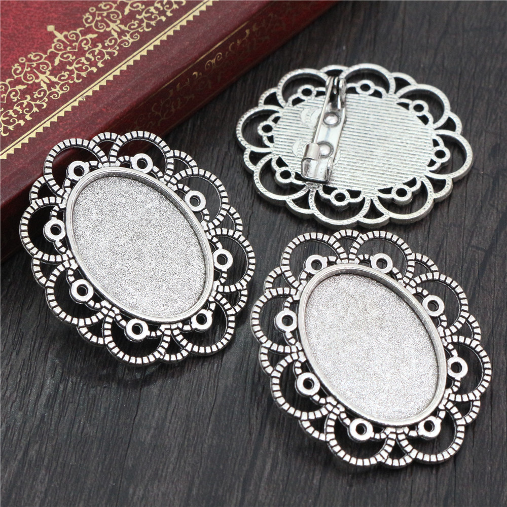 3pcs 18x25mm Inner Size Antique Silver Plated Brooch Pin Classic Style Cameo Cabochon Base Setting  (C2-05)