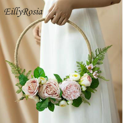 EillyRosia Romantic Bridal Bouquet Mariage Country Church Wedding Flowers Bridesmaid Holding Flowers Purple Red Artificial