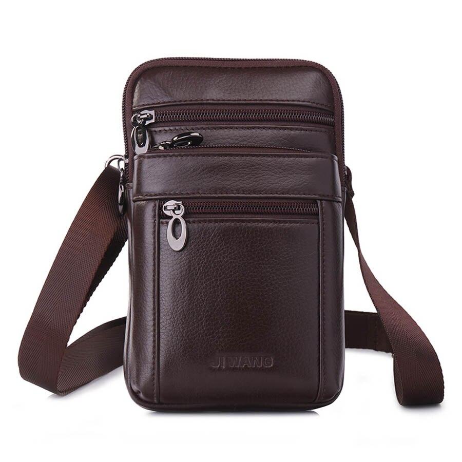 Genuine Leather Mini Cross Body Shoulder Bag Men's Messenger Bags Men Waist Belt Pack 7' Cell Mobile Phone Walle Punch Case