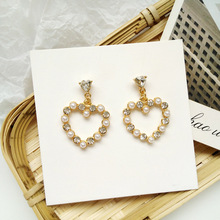 Korean Fashion Simple Love Sweet Girl Crystal Drop Earrings Heart Pearl Women Jewelry Student Gift