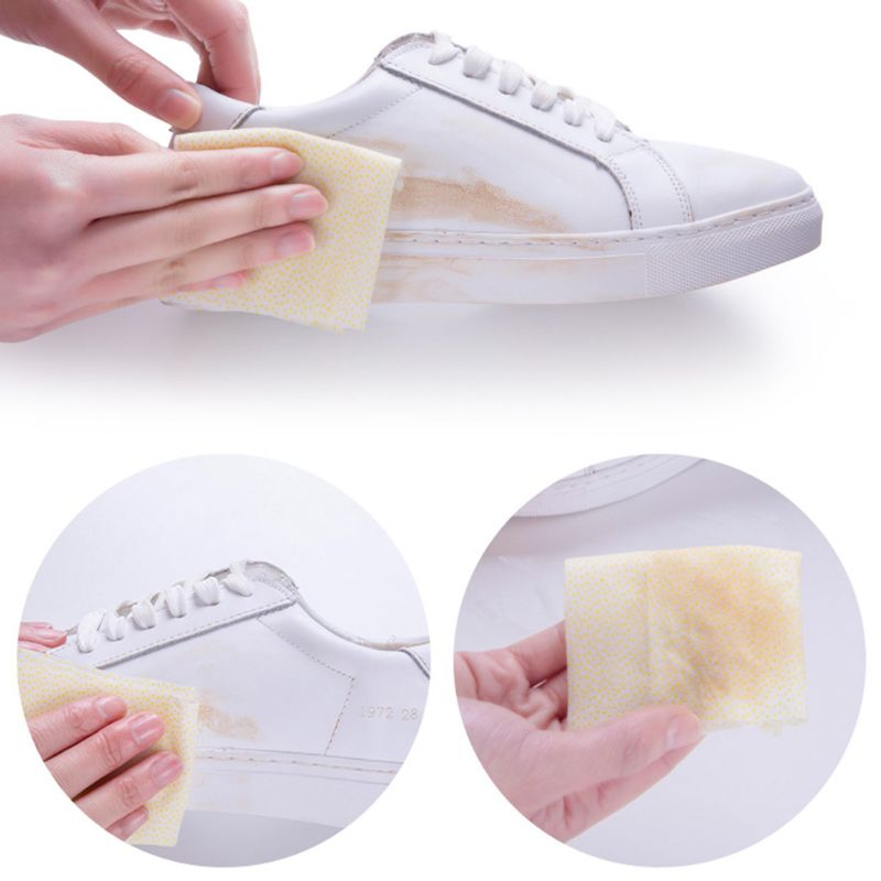 2019 New 20 Pcs/box Portable Sneakers White Shoes Cleaning Wipes Disposable Leather Shoe Clean Wet Towels Q0KD