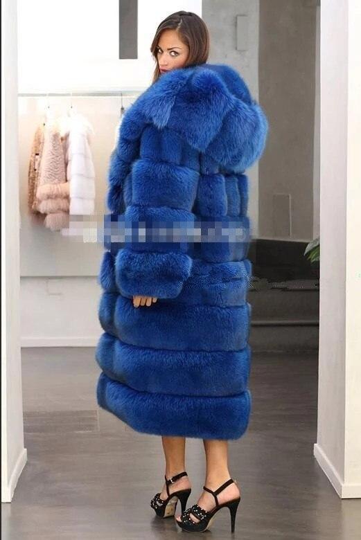 Hot Sale Imitation Mink Fox Coat  Blue Horizontal Stripes Gorgeous Abundance Warm Coat Sexy Women X-Long Fox Fur Coats Wholesale