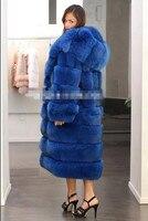 Hot sale Imitation mink Fox coat Blue horizontal stripes gorgeous abundance Warm Coat Sexy women X Long Fox fur coats wholesale
