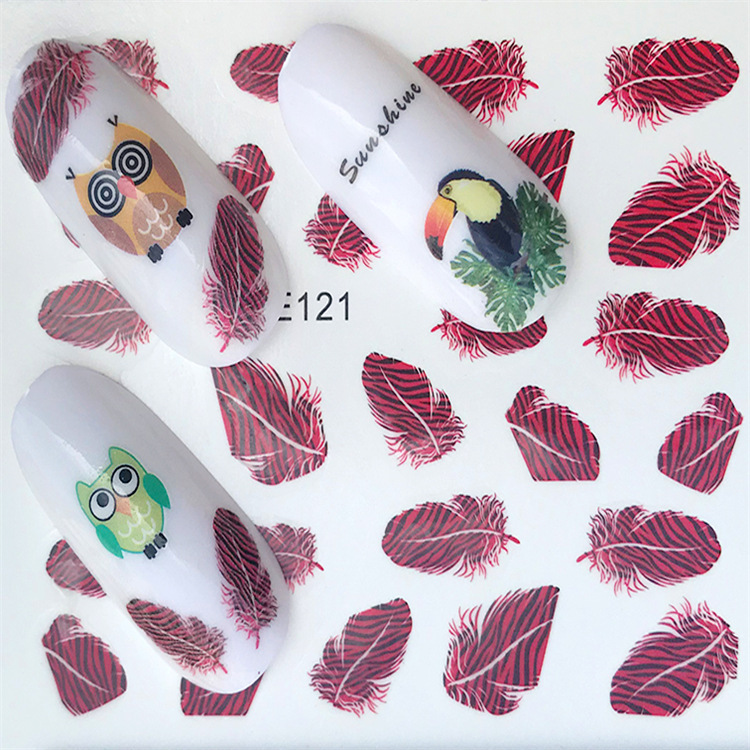 Cross Border For New Style Nail Sticker YZW121 Feather Nail Sticker Environmentally Friendly Breathable Nail Decal