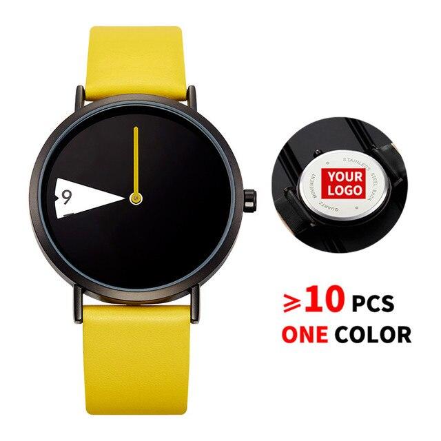 10PCS/Lot SINOBI 0090 Free Customized LOGO Watch Women Watch Creative Rotate Wristwatch Lady Clock Yellow Leather Custom Watches