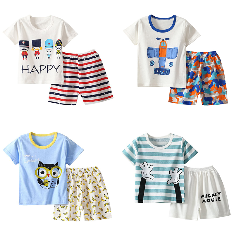 HIPAC Clothes Baby Boys Clothing Set Tops T-shirt 2pc Short Sleeve Pajama Set Toddler Baby Girls Clothes Children Suit 1