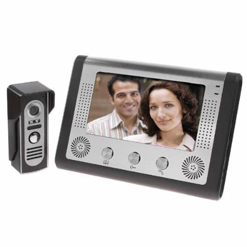 البصرية جرس باب إنتركوم 7 ''TFT لون LCD السلكية فيديو باب الهاتف نظام داخلي رصد 700TVL في الهواء الطلق كاميرا تعمل بالأشعة فوق الحمراء دعم فتح