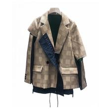 Celebrity Women Plaid Patchwork Jacket designer autumn new stitching color matching lattice hem drawstring casual Windbreaker