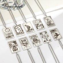 Dawapara – collier avec pendentif cartes Tarot, Vintage, en acier inoxydable, bijoux cadeau du nouvel an, les grands arcanes