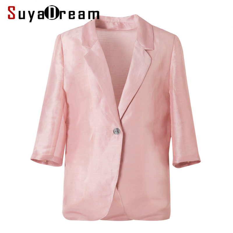 Women Silk Blazer 50%Silk 50%Linen Solid 3/4 Sleeved Single Button Office Lady Blazer 2019 NEW Fall Winter Out Wear