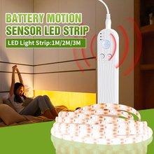 Taśma LED światło kryty czujnik ruchu PIR USB 5V lampa LED 1m 2m 3m taśma LED bateria SMD 2853 elastyczna taśma szafka podświetlenie