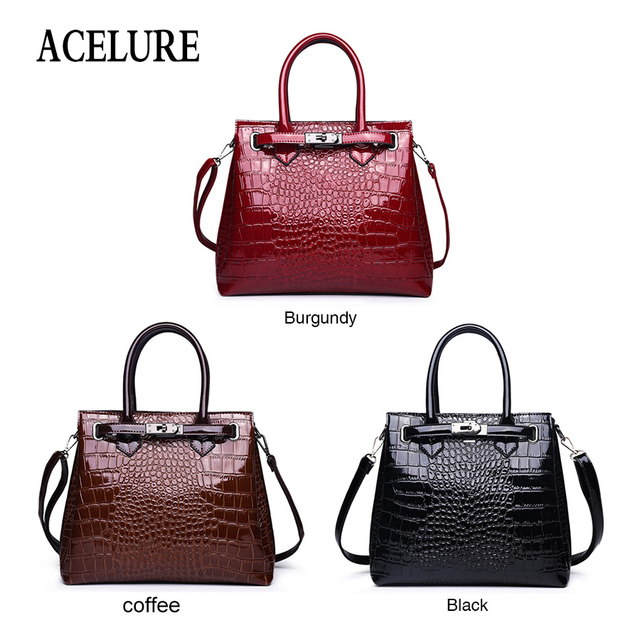 ACELURE Solid Color Hard Handle Handbags For Women Alligator PU Leather Shoulder Bags For Female Business Style Crossbody Bag