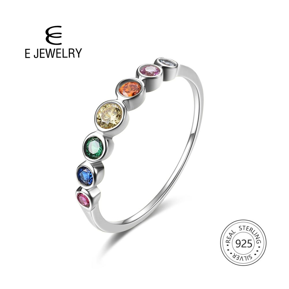 E HOT SALE Authentic 925 Sterling Silver Rainbow Finger Ring for Women Color CZ Stackable Rings gemstone Wedding Jewelry Gift