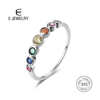E Jewelry 925 Sterling Silver Rainbow Gemstones Ring for Women Colorful Wedding Engagement Rings for Girls