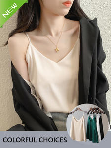 Camisole Top V-Neck Satin Chiffon Sexy Render Casual HALTER Plus-Size Woman Sleeveless