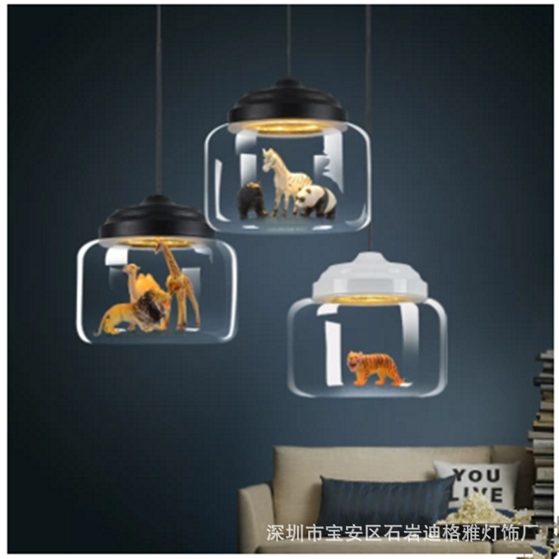 Nordic Restaurant Glass Chandelier Creative Animal Kindergarten Classroom Children's Room Cartoon Chandelier Fixture 220V