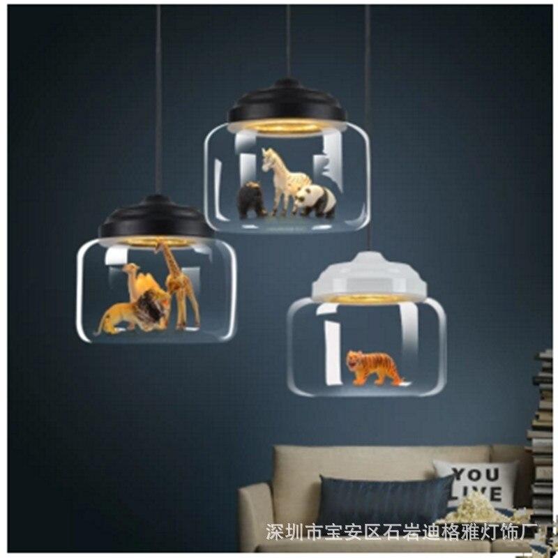 Nordic restaurant glass chandelier creative animal kindergarten classroom children's room cartoon chandelier fixture 220V