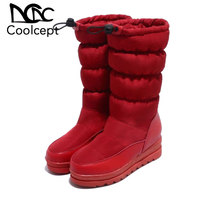 Coolcept Winter Warm Snow Boots Women Mid Calf Boots Elastic Band Plush Flats Shoes Daily Outdoor Women Footwear Size 33 43