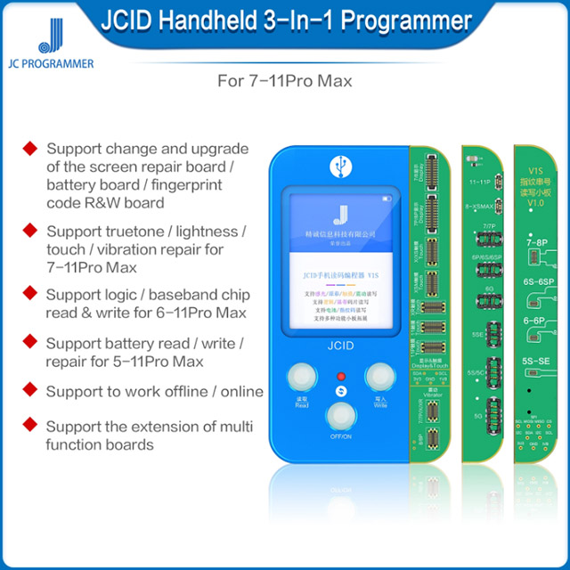 JC V1S Phone Ture Tone Repair Programmer For IPhone 7 7P 8 8P X XR XS XS MAX 11 Pro MAX Battery Fingerprint SN Reader