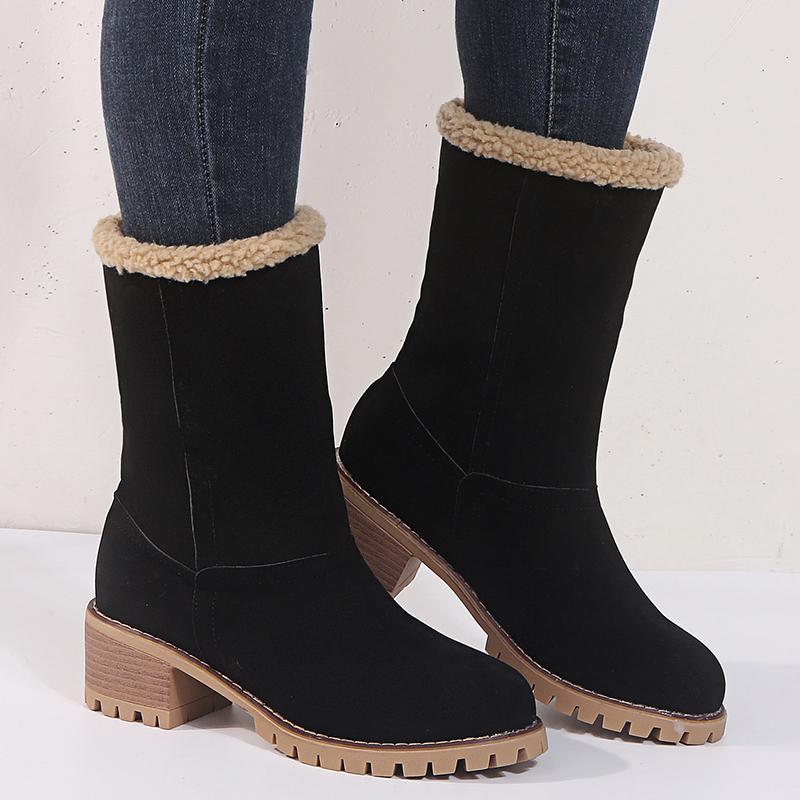 Women's Shoes Snow Boots Ladies Winter Shoes Fashion Flock Warm Boots Ankle Boots Short Bootie Slip On Outside Shoes Botas