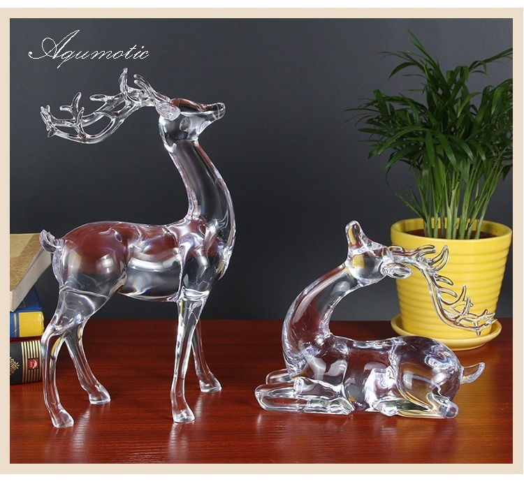 Aqumotic Pair Large Crystal Deer Figurines Home Bedroom Decor Glass Deers Decorations Beautiful Elk Reindeer