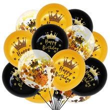15 pçs ouro preto látex balões 18 30 40 50 feliz aniversário festa confetes balões de aniversário adulto balões decorações suprimentos