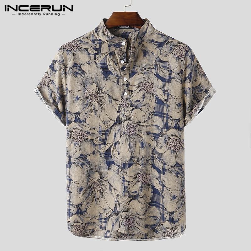 Summer Men Casual Shirt Printed Short Sleeve Stand Collar 2020 Breathable Blouse Streetwear Camisas Chic Hawaiian Shirts INCERUN