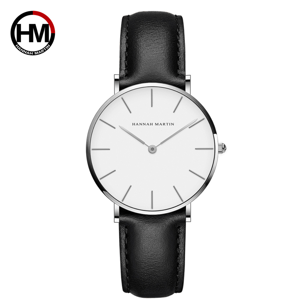 TOP Brand Hannah Martin Hot Sale Classic Women Watch With Simple 30m Waterproof Leather Band Watch