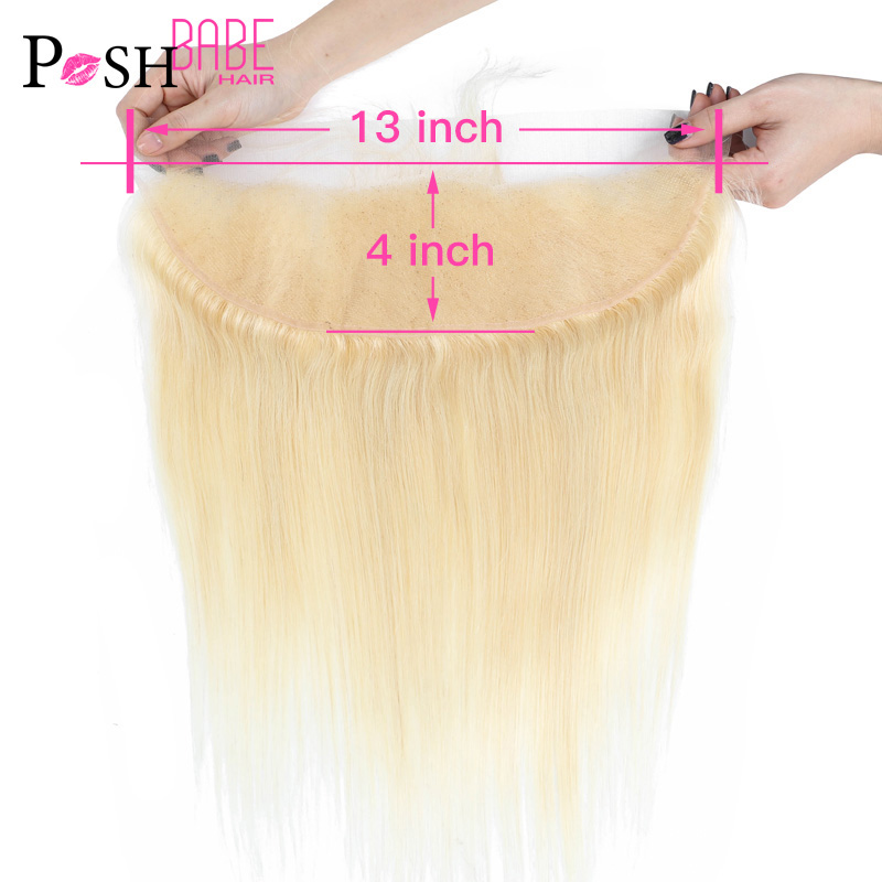 13x4 Lace Frontal Ear to Ear Brazilian Straight 613 Blonde Colored Human Hair Swiss Frontal Closure Bleached Knot With Baby Hair