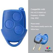 Пульт дистанционного управления KEYECU для автомобиля с 3 кнопками 433 МГц 4D63 чип-брелок для Ford Transit WM VM 2006 2007-2014 P/N: 6C1T15K601AG