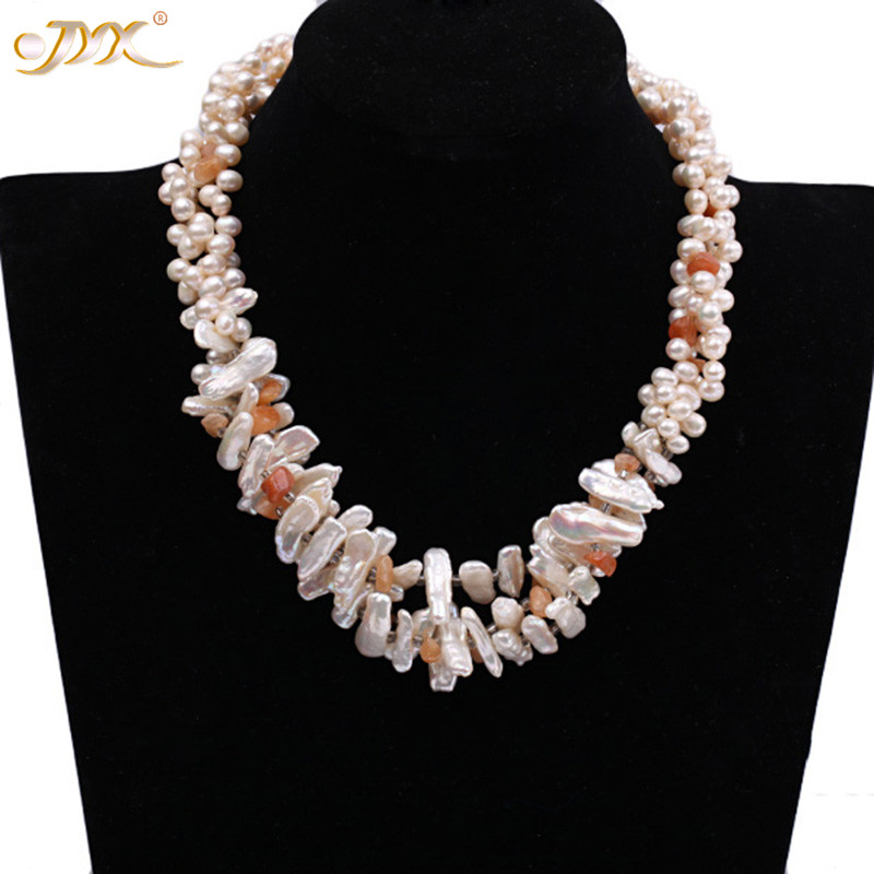 "JYX Classic Baroque pearls with red agate necklace 6-7mm pearls choker 2 strands 19"" best jewelry for women"
