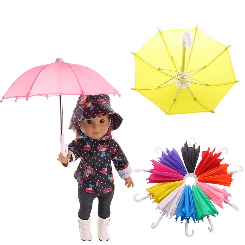 Mini Umbrella Rain Gear For 18 Inch American Baby Doll Life Journey Dolls Accessory Birthday Gift For Children Umbrella Toy(China)
