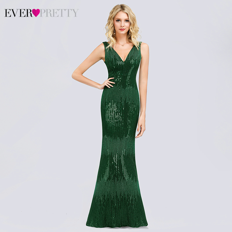 Ever Pretty Sexy Mermaid Prom Dresses Long Sequined Double V-Neck Ladies Formal Evening Party Gowns Vestidos Ceremonia Mujer