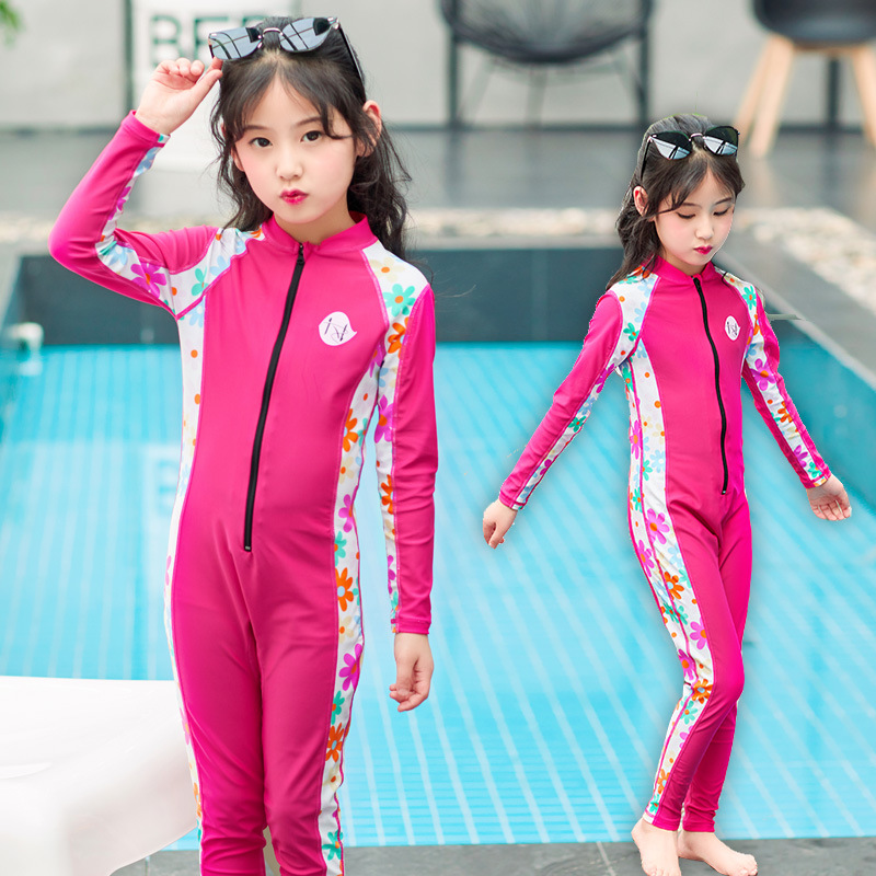 Children Siamese Swimsuit Trousers Middle And Large GIRL'S Long Sleeve Children Less Chinlon Bathing Suit Full Body Sun-resistan