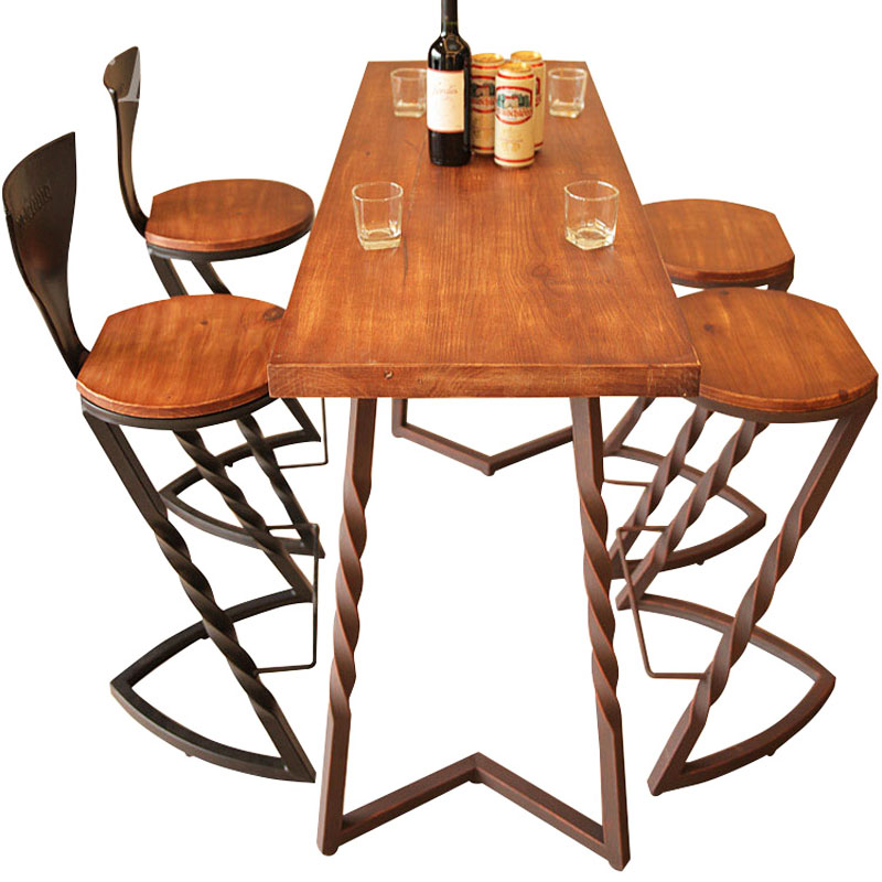 American Solid Wood Bar Stool Bar Retro Bar Chair Cafe Lounge Chair Creative Wrought Iron High Chair