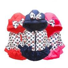 CHCDMP/зимняя верхняя одежда хлопковая куртка с капюшоном куртки для маленьких девочек больших размеров пальто со съемным капюшоном и Минни детская одежда теплые пальто